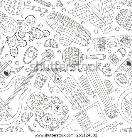 Seamless vector pattern with hand drawn mexican elements - guitar, sombrero, tequila, taco, skull, aztec mask, music instruments. Perfect artistic background for your design.  - stock vector