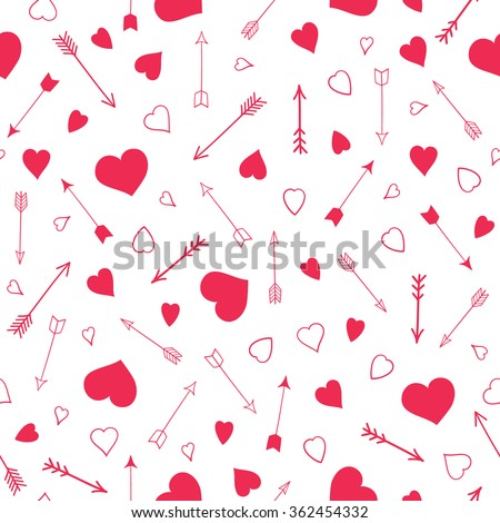 Seamless vector pattern with hearts and arrows. Valentines day design - stock vector
