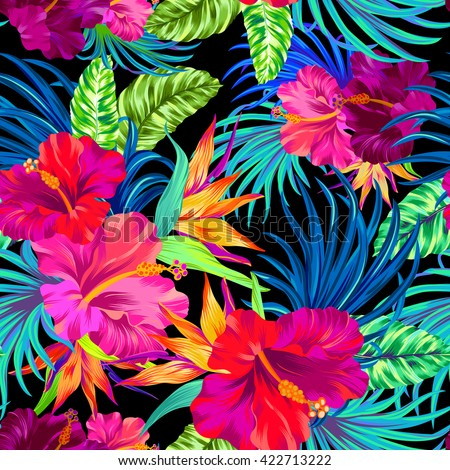 seamless vector pattern with hibiscus, palms, tropical flowers, leaves. art illustration, amazing details,  Busy allover layout with botanical flowers.  for fashion, swimwear, interior, stationery.