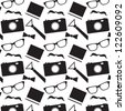 Seamless vector pattern with hipster style elements, can be used for background, greeting card, print materials - stock photo