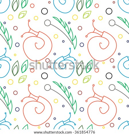 Seamless vector pattern with insects, chaotic colorful background with snails, leaves and dots. - stock vector