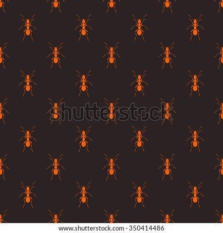 Seamless vector pattern with insects, dark symmetrical background with red ants - stock vector