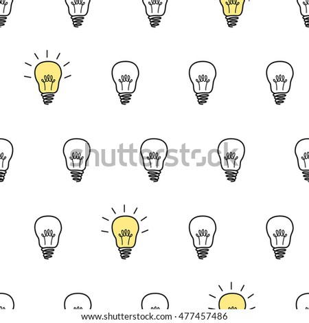 Seamless vector pattern with light bulbs