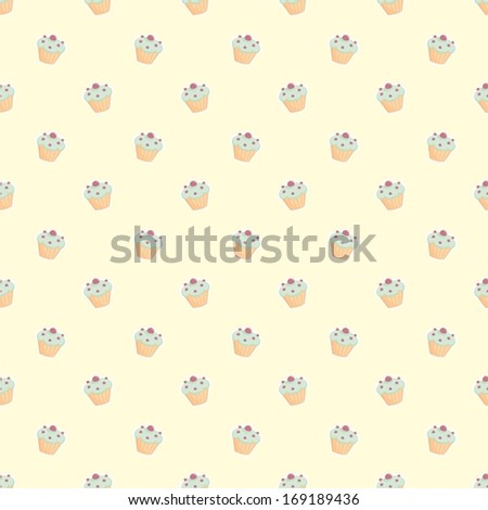 Seamless vector pattern with little cupcakes, green hipster muffins, sweet cake on lemon yellow background. Background with sweets for desktop wallpaper, web design, kids or culinary blog website - stock vector