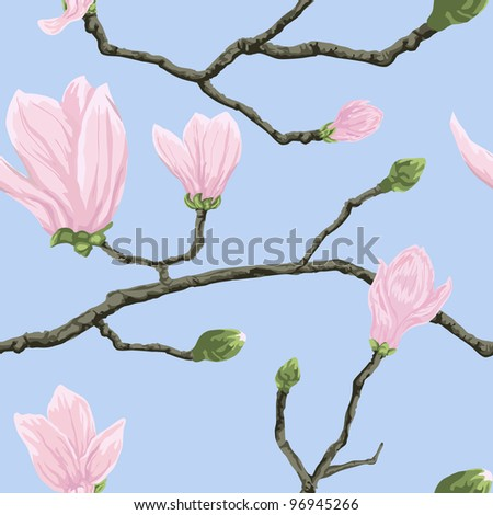 Seamless vector pattern with magnolia flowers on branch - stock vector