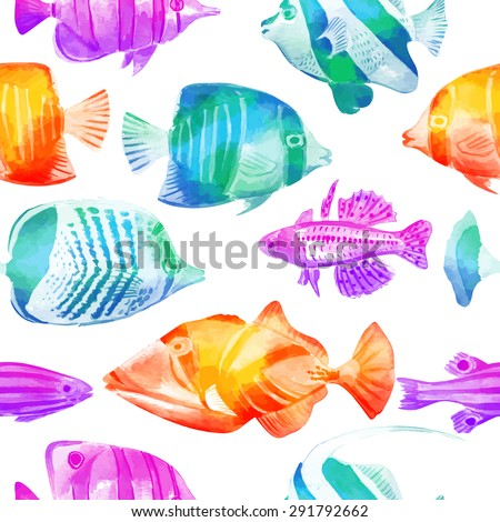 Seamless vector pattern with marine fish. Tropical fish. Vector watercolor background. Can be used for fabric, wallpaper, background, banner, pack, web page. Isolated elements for easy use. - stock vector