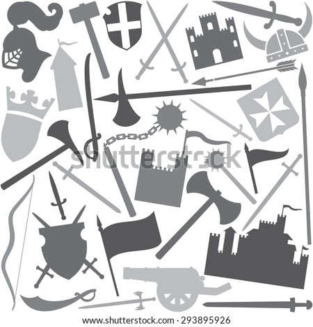 seamless vector pattern with medieval icons (tower, medieval knight helmet, ancient cannon, swords, battle ax, hammer, flag, coat of arms, shield, saber, medieval flail, mace, viking helmet) - stock vector