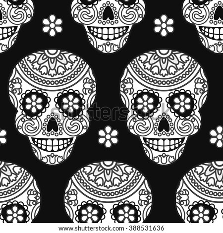 Seamless vector pattern with mexican skulls for Day of the dead celebration - stock vector