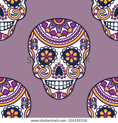 Seamless Vector Pattern Mexican Skulls Day Stock Vector 526189258 ...