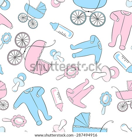 Seamless vector pattern with newborn accessories: clothing, baby carriages, soothers, rattles and feeding bottles. - stock vector