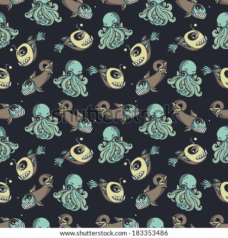 Seamless vector pattern with octopuses and fishes. - stock vector
