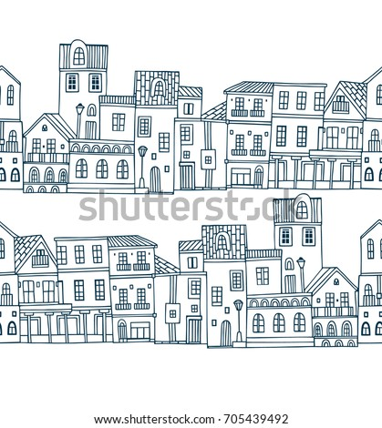 Seamless vector pattern with old houses on white background
