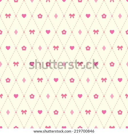 Seamless vector pattern with pale pink heart, bow, flower and argyle elements on light beige background. Simple romantic background witch decorative stylized forms.  - stock vector