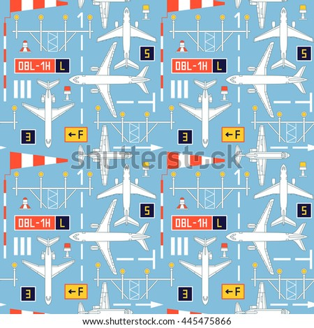 Seamless vector pattern with passenger airplanes number four. Can be used for graphic design, textile design or web design. - stock vector