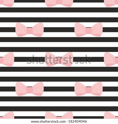 Seamless vector pattern with pastel pink bows on a black and white strip background. For desktop wallpaper, cute kids background or website design - stock vector