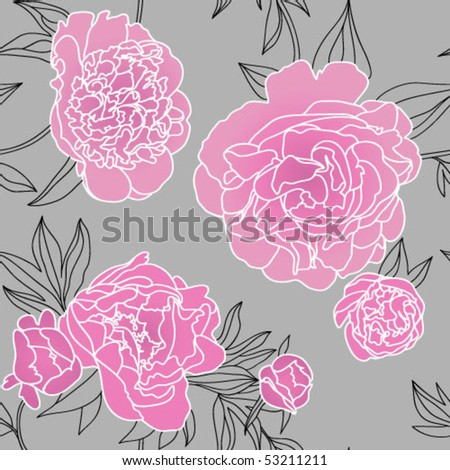 Seamless vector pattern with peonies - stock vector