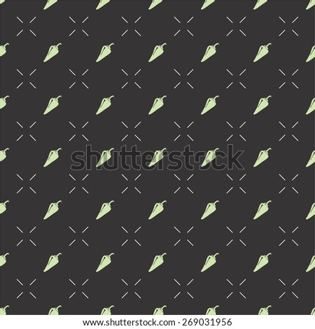 Seamless vector pattern with pepper symbol, can be used as tiling, web pattern or for just related design.