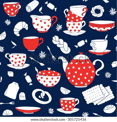 Seamless vector pattern with polka-dot porcelain, breakfast time, tea time - stock vector