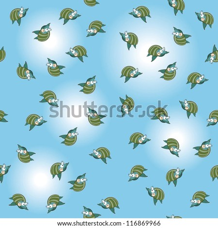 Seamless vector pattern with sea turtles.