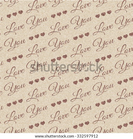 Seamless vector pattern with text, pattern can be used for wallpaper, pattern fills, surface textures . Brown and beige