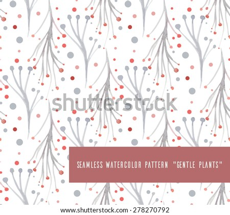 Seamless vector pattern with watercolor plants