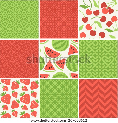 Seamless vector patterns set - summer berries backgrounds  - stock vector