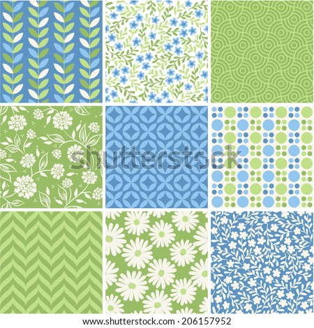 Seamless vector patterns set - summer floral backgrounds - stock vector