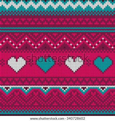 Seamless vector pink and blue pattern knitted texture with hearts and ethnic elements