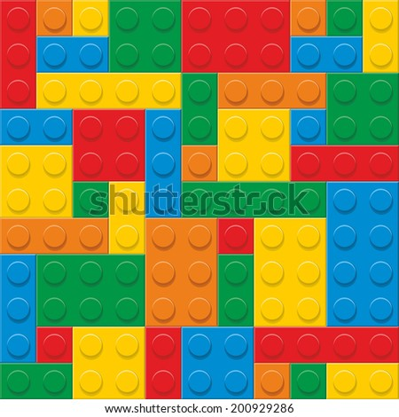 seamless vector. plastic construction blocks - stock vector