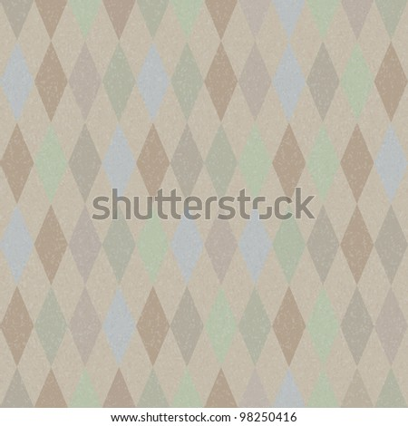 Seamless vector retro harlequin background in pastel colors - stock vector