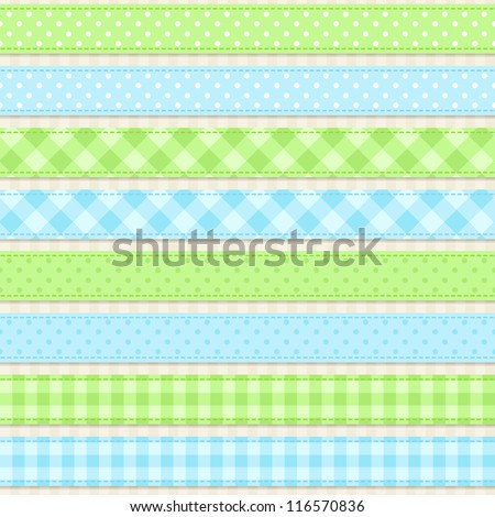 Seamless vector ribbons and borders - stock vector
