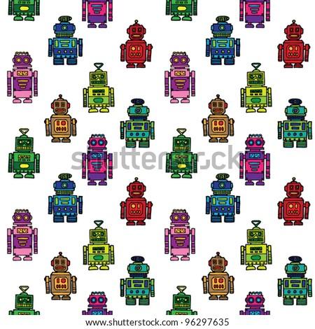 seamless vector robots - stock vector