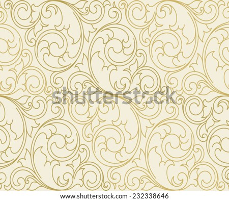 Seamless vector scroll spiral floral orange background - stock vector