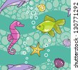 seamless vector sea  pattern with dolphin ,shells,seahorse and starfish - stock vector