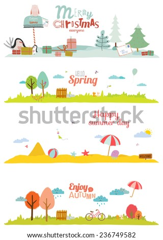 Seamless vector seasons banners in a cute and cartoon style with place for text. Summer, autumn, winter, spring. Outdoor backgrounds with nature, sky, flowers, trees, sea, garden, grass, and animals - stock vector