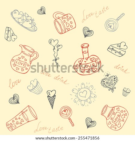 seamless Vector set of summer travel and vacation emblems and symbols, hand-drawn - stock vector
