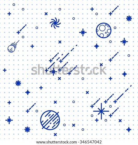 Seamless vector space pattern. Science Illustration with stars and planets. Use for prints, web, posters, invitations.  - stock vector