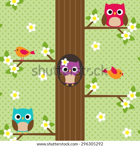 Seamless vector spring pattern with tree and owl sitting on branches - stock vector