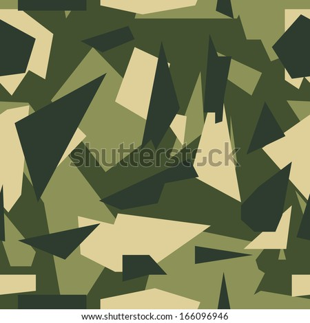 Seamless vector square camouflage series - Green - stock vector