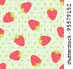Seamless vector strawberry pattern - stock photo