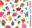 Seamless vector strawberry pattern. Berry isolated on white background. - stock vector