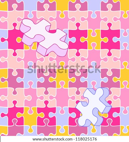 Seamless vector swatch of colorful wall-to-wall puzzle pieces align perfectly for wallpaper or background. White lines included on separate layer, so you can turn ANY pattern or color into a puzzle! - stock vector