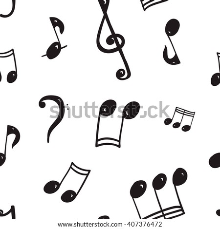 Seamless vector texture, notes, accidentals, bass clef, treble clef, music, doodle texture black contour on a white background