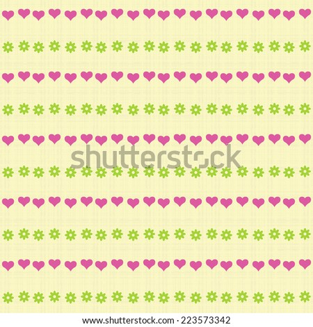 Seamless vector texture with flowers and hearts - stock vector