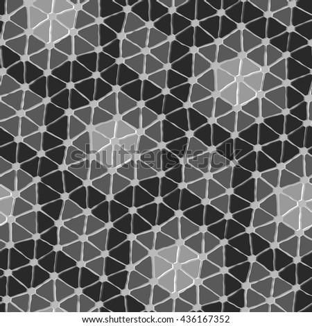 Seamless vector texture with grey triangle tiles - stock vector
