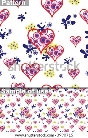 Seamless vector texture with grunge hearts. You can create the wallpaper with this pattern, size and number of elements can be changed as you want.