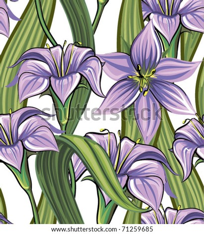Seamless vector texture with stylish flowers - stock vector