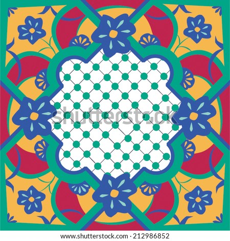 Seamless vector tile pattern in a style similar to Moroccan or talavera tiles. In traditional colors of green, pink, blue and gold this tile is very intricate featuring an abstract flower.  - stock vector