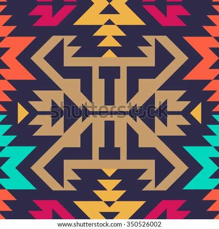 Seamless Vector Tribal Pattern for Textile Design. Stylish Modern Art. Psychedelic Mix of Stripes and Triangles - stock vector