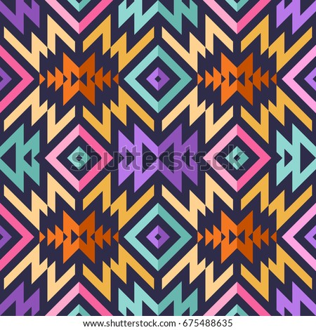 Seamless Vector Tribal Pattern for Textile Design. Stylish Modern Art. Psychedelic Mix of Stripes and Triangles